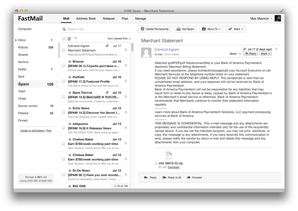 Screenshot of FastMail's web-based interface